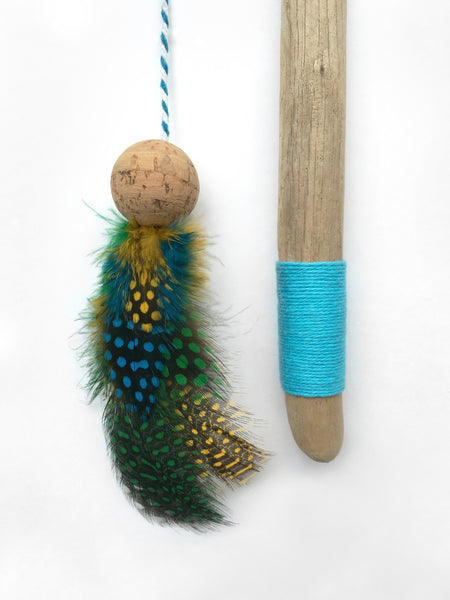 Driftwood Feather Wand Cat Toy / Moonrise Blue and Green