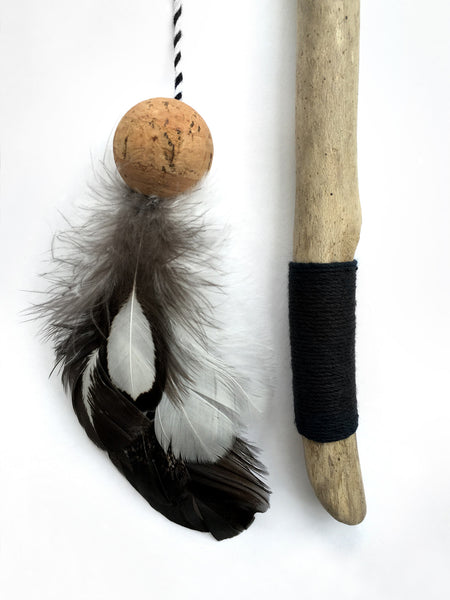 Driftwood Feather Wand Cat Toy / Minimalist Black and White / Silver Laced Wyandotte