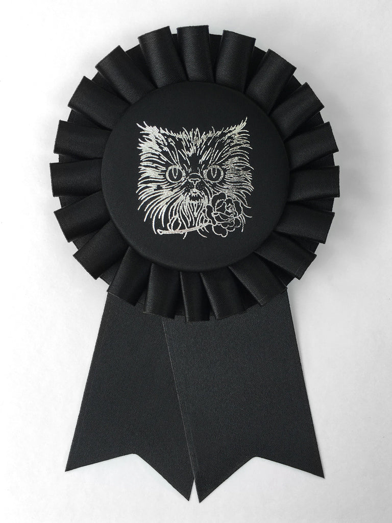 Silver Cat Face / Eco Satin Rosette Prize Ribbon / Assorted Colors