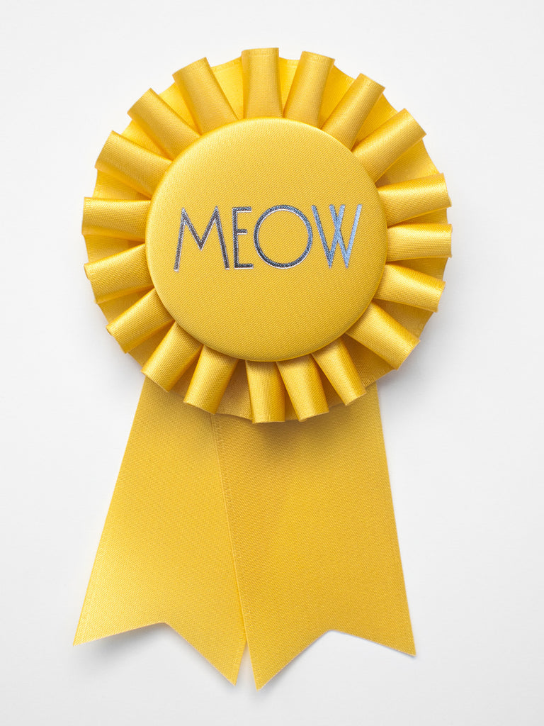 Meow / Eco Satin Rosette Prize Ribbon / Sunrise Yellow