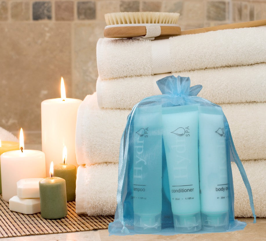 Hydro Spa Room Ready Kit in Organza Drawstring bag (Small) ~ (10 per case) $3.89 each or less - Canadian Hotel Supplies