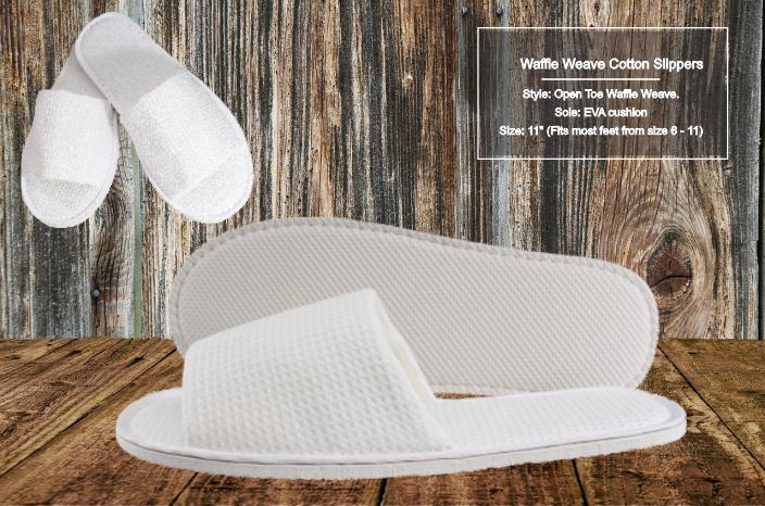 Hotel Slippers Waffle Cotton Open Toe 10 per case As low as $2.55 each! - Canadian Hotel Supplies