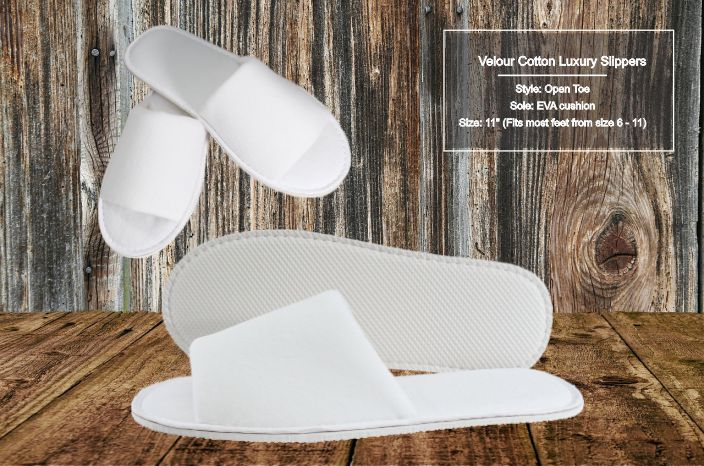 Hotel Slippers Velour Open Toe (10 per case) - Canadian Hotel Supplies