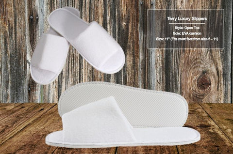 Hotel Slippers Terry Cotton Open Toe 10 per case As low as $2.55 each!