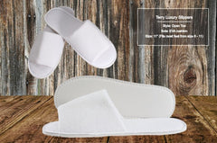 Hotel Slippers Terry Cotton Open Toe 10 per case As low as $2.55 each! - Canadian Hotel Supplies