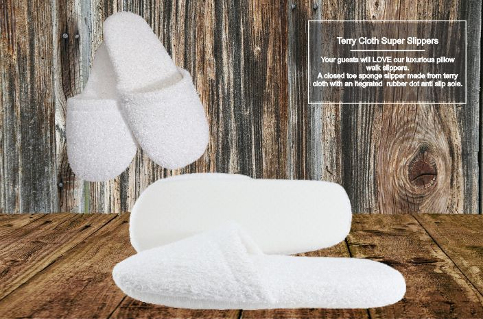 Hotel Slippers Pillow Walk Terry Closed Toe (10 per case) $4.89 each or less! - Canadian Hotel Supplies