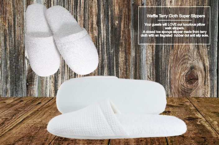 Hotel Slippers Pillow Walk Waffle Closed Toe (10 per case)