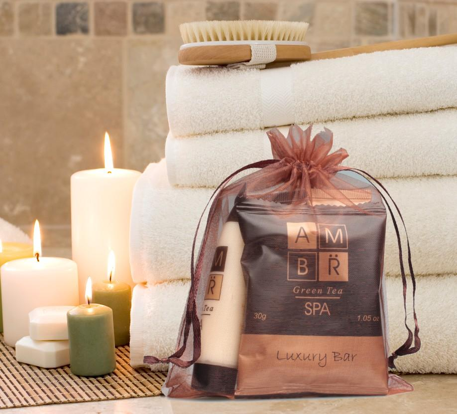 AMBR Spa Room Ready Kit in Organza Drawstring Bag (Small) ~ (10 per case) $3.89 each