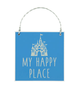 Disney Parks Castle My Happy Place Message Christmas Ornament New with Tags