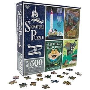 Disney Parks 60th Disneyland Attractions 4 Puzzles of 500 Pieces New with Box