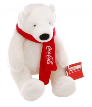 Authentic Coca-Cola Coke Polar Bear with Scarf Plush 10 inc New with Tag