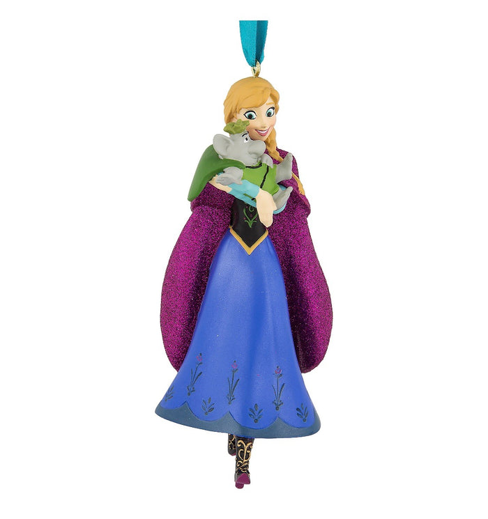 Disney Parks Frozen Anna with Troll 3D Glitter Christmas Ornament New with Tags