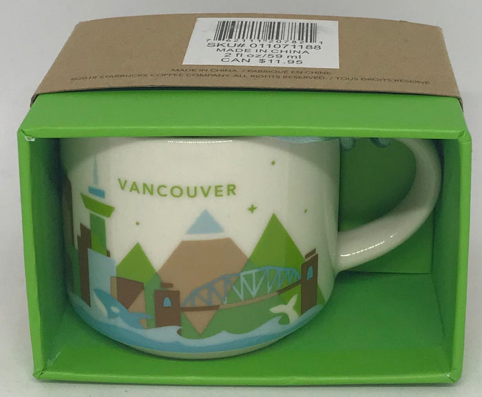 Starbucks Coffee You Are Here Vancouver Canada Ceramic Mug Ornament New with Box