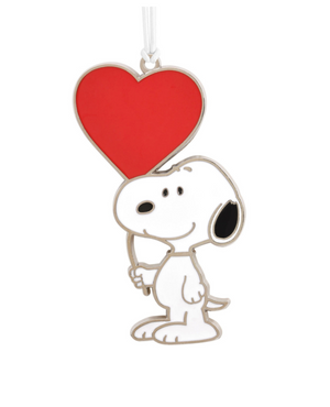 Hallmark Valentine Peanuts Snoopy with Heart Balloon Metal Ornament New w Card