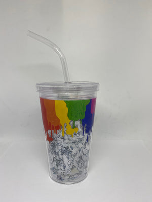 Disney Parks Ink & Paint Tumbler with Straw New