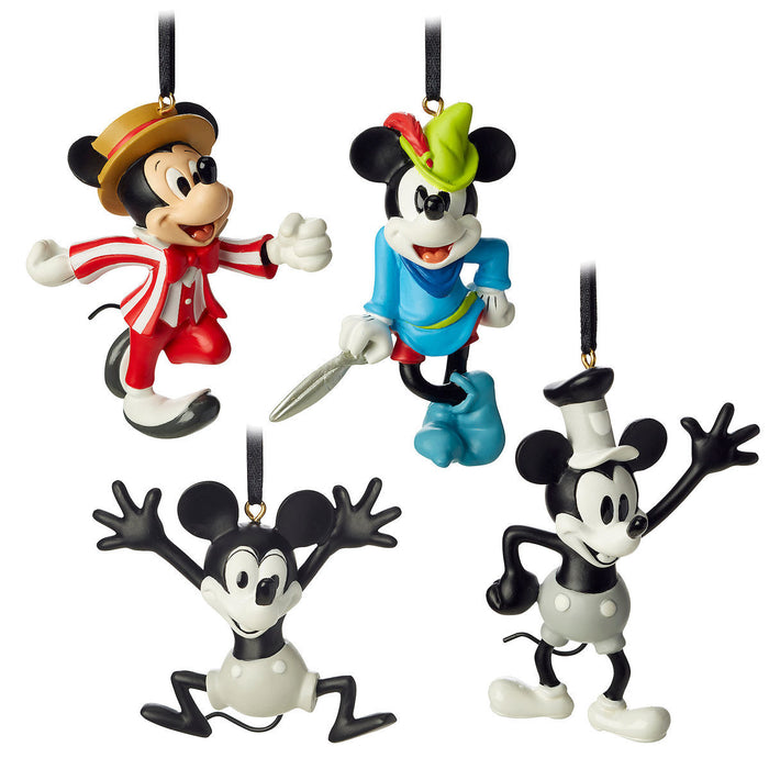 Disney Mickey Mouse Through the Years Mini Ornament Set Steamboat Willie New