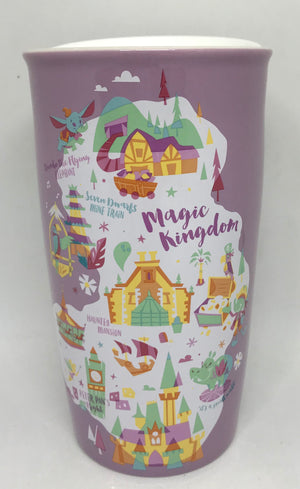 Disney Parks Starbucks Magic Kingdom Attractions Map Coffee Tumbler Mug New