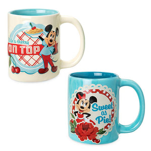 Disney Parks Back in the Day Mickey and Minnie Mouse Retro Mug Set New with Box