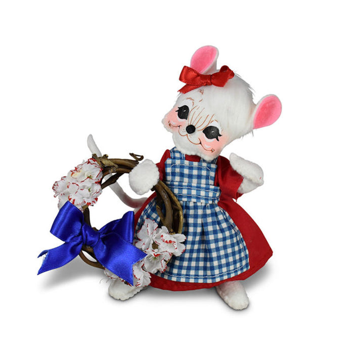 Annalee Dolls 2021 4th of July 6in Patriotic Girl Mouse Plush New with Tag