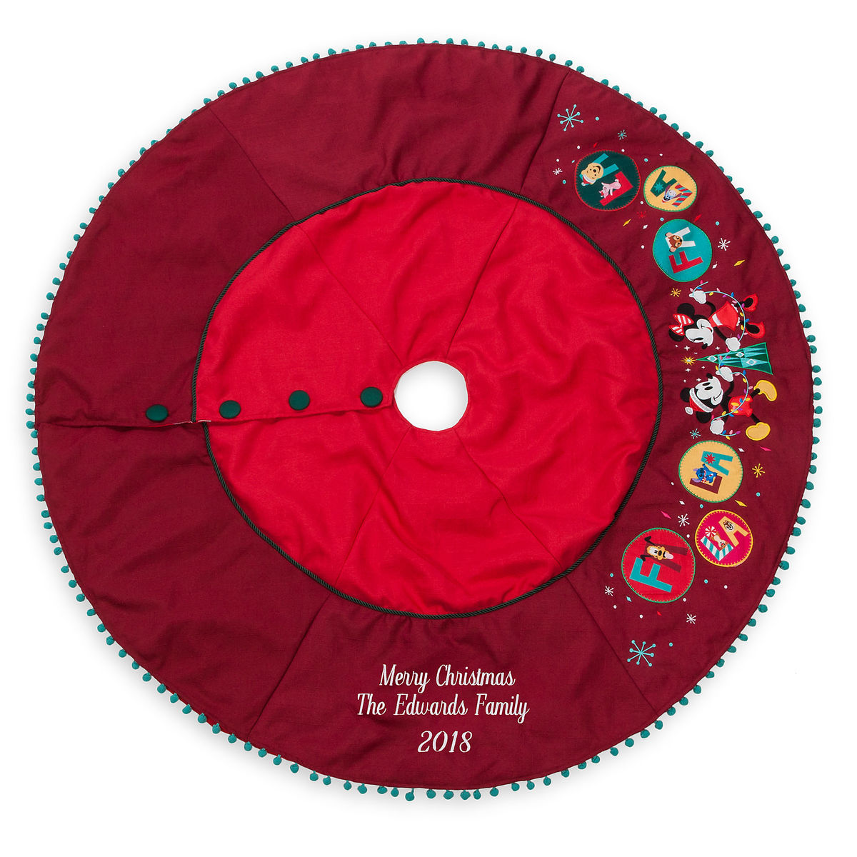 Disney Mickey And Minnie Mouse Holiday Christmas Tree Skirt New I Love Characters