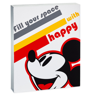 Hallmark Disney Mickey Mouse Fill Your Space with Happy Wood Quote Sign New