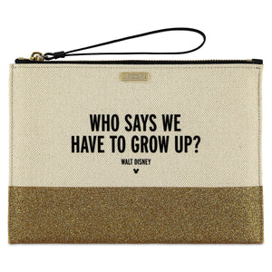 Disney Who Says We Have to Grow Up? Canvas Glitter Clutch by Kate Spade New Tag
