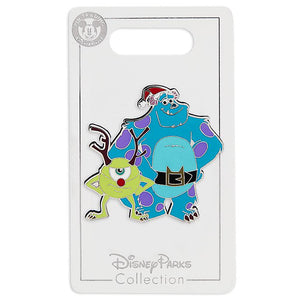 Disney Parks Sulley and Mike Wazowski Holiday Pin New with Card