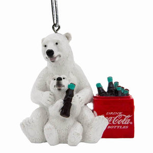 Authentic Coca Cola Coke Polar Bear Cub Cooler Christmas Ornament New with Tags