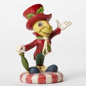 Disney Jim Shore Traditions Jiminy Cricket on Peppermint Resin Figurine New Box