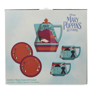 Disney Mary Poppins Returns Teapot Cups and Saucers Set New with Box