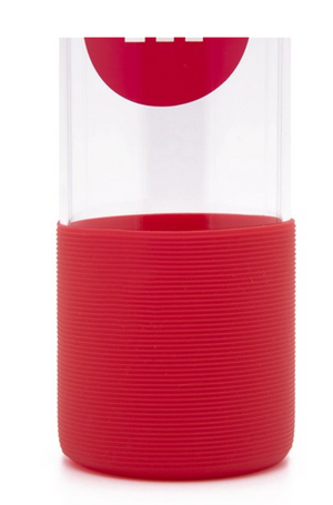 M&M's World Red Character Water Glass Bottle with Silicone Bottom New