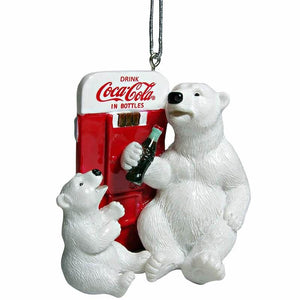 Authentic Coca Cola Coke Polar Bear Vendor Machine Christmas Ornament New w Tags