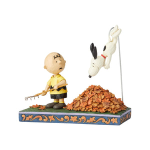 Jim Shore Peanuts Charlie Brown and Snoopy in Leaves Resin Figurine New with Box