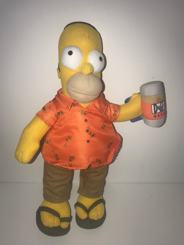 "Universal Studios The Simpsons Homer Island Vacation Duff Beer Plush 14"" New"