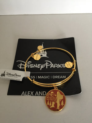 Disney Alex and Ani Pocahontas Make Your Own Path Bangle Gold Finish New
