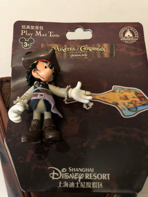 Disney Parks Shanghai Mickey Pirate Play Mat Tote with Figurine New with Tags