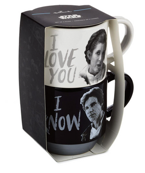 Hallmark Star Wars Han Solo and Princess Leia Love You Stacking Mugs Set New