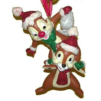 disney parks christmas santa chip and dale glitter ornament new with tag
