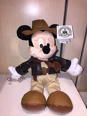 "disney parks 9"" mickey mouse as indiana jones plush toy new with tag"