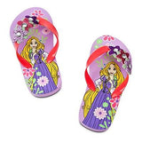 disney store tangled rapunzel flip flops for girls size 2/3 new with tag