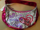 disney parks minnie and mickey metallic pink sparkle heart bag new with tag