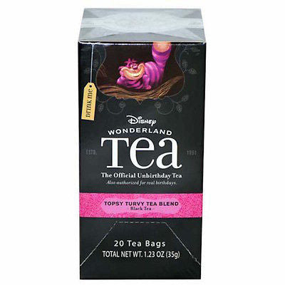 disney wonderland 20 tea bags topsy turvy blend official unbirthday new sealed