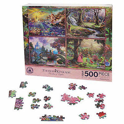 Disney Thomas Kinkade Painter Of Light 4 puzzle 500 Pieces Princesses Pink New