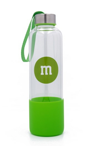 M&M's World Green Character Water Glass Bottle with Silicone Bottom New