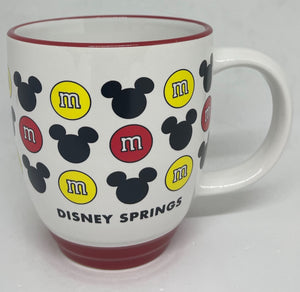 Disney Springs M&M's World Red and Yellow Mickey Icons Coffee Mug New