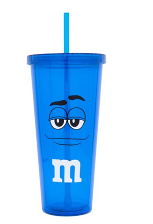 M&M's World Blue Character Lip Tumbler with Straw New