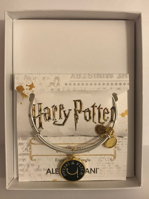 Alex and Ani Harry Potter Swish & Flick Charm Bangle Two Tone Silver Finish New