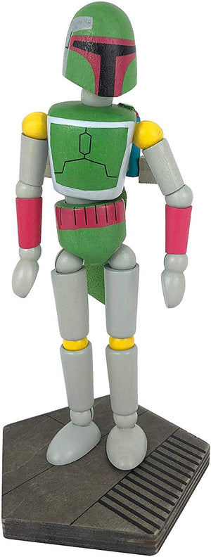 Disney Parks Star Wars Galaxy's Edge Wooden Boba Fett Bendable Toy Figurine