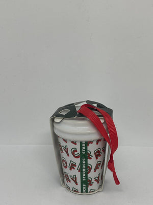 Starbucks Merry Coffee Ceramic Christmas Ornament New with Tag