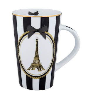 Disney Parks Epcot Paris Eiffel and Bow Tall Latte Mug New
